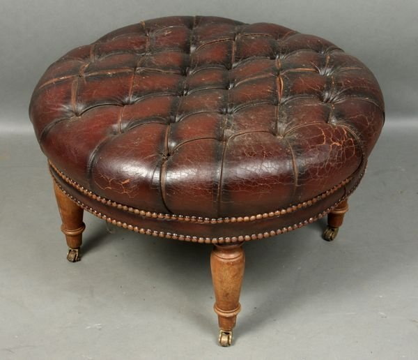4010: 19th Century English Tufted Leather Ottoman