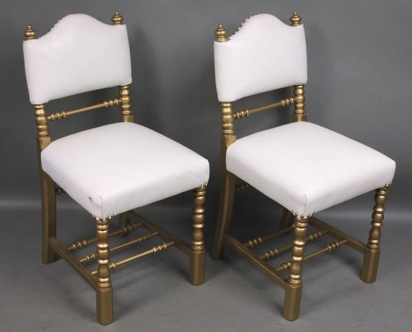 4012: Pair of Victorian Gold-Painted Chairs w/ Leather