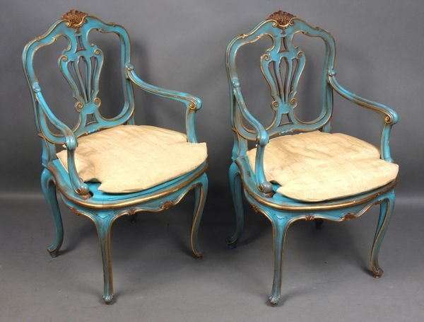 4013: (2) Early 20th C. French Paint-Decorated Chairs