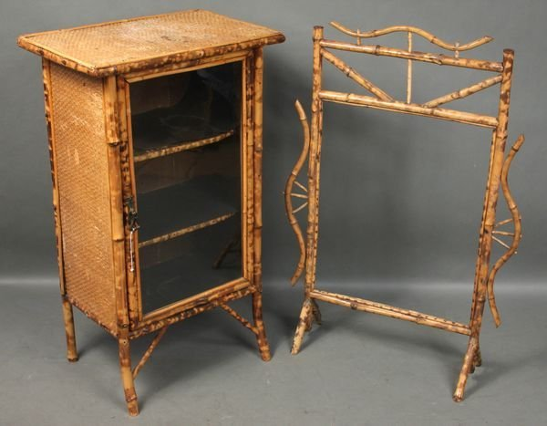 4017: 19th C. Bamboo Cabinet w/ Glass Door, Screen