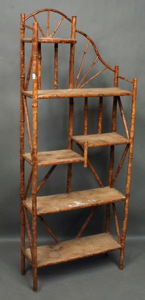 4018: Two (2) 19th Century Bamboo Book Shelves