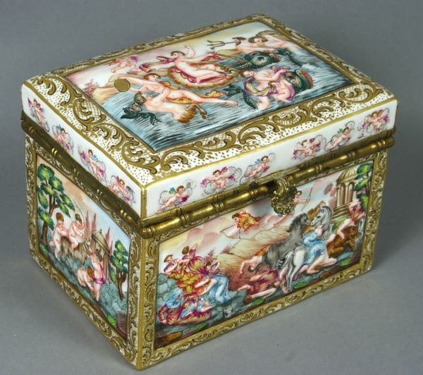 4029: 19/20th C. Porcelain Box w/ Nymphs, Putti, etc.