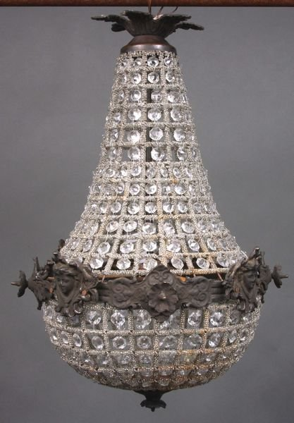 4042: 19th C. French Empire Crystal Chandelier : Lot 4042