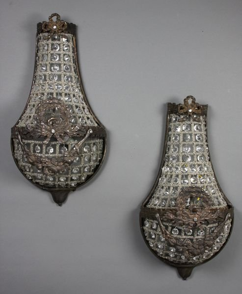 19 20th C French Empire Crystal Wall Sconces