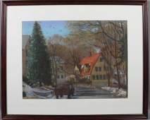 4056: Signed Joan Kerry, Neighborhood Scene, Pastel
