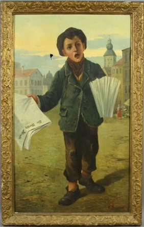 C. Bricard, 19th C., Newspaper Boy, O/c