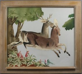 Signed Harris, Watercolor Of Deer, Framed