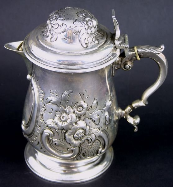 4097: C1859 London Sterling Silver Covered Pitcher