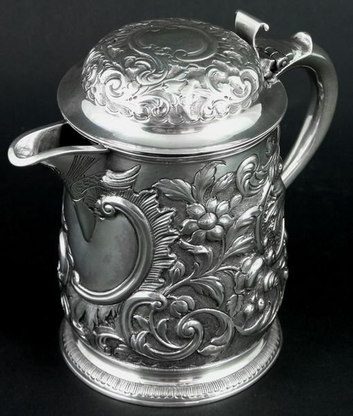 4110: C1887 London Sterling Silver Covered Pitcher