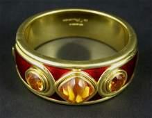 4167: 18k Gold Guilloche De Vroomen Bracelet