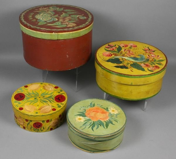 5011: Four (4) Hand-Decorated 19th C. Pantry Boxes