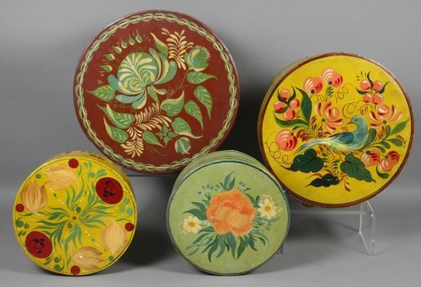 5011: Four (4) Hand-Decorated 19th C. Pantry Boxes - 2