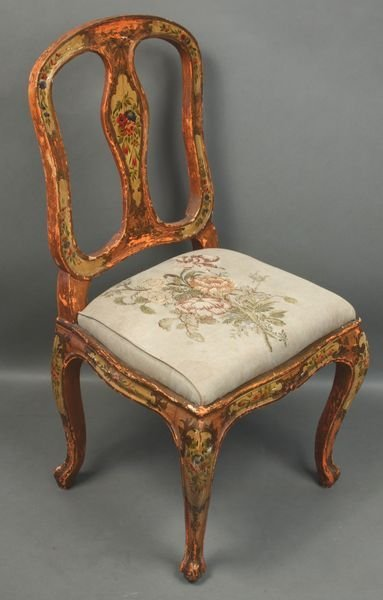 5014: 19th C. Venetian Paint-Decorated Side Chair