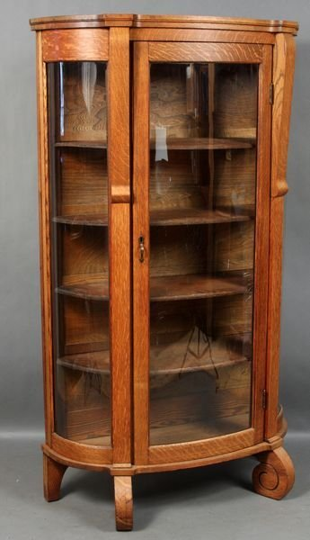 5022: Oak Curved Glass China Cabinet