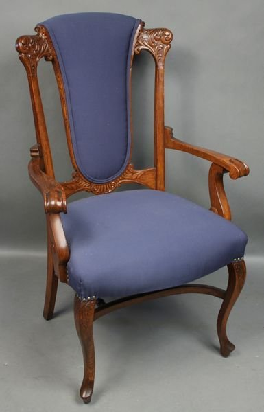 5025: Upholstered Oak Armchair with Carved Back