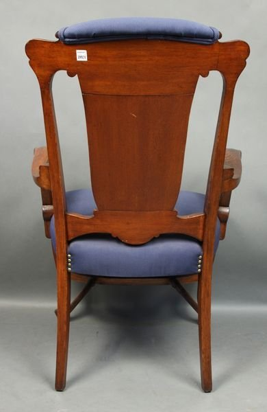5025: Upholstered Oak Armchair with Carved Back - 2