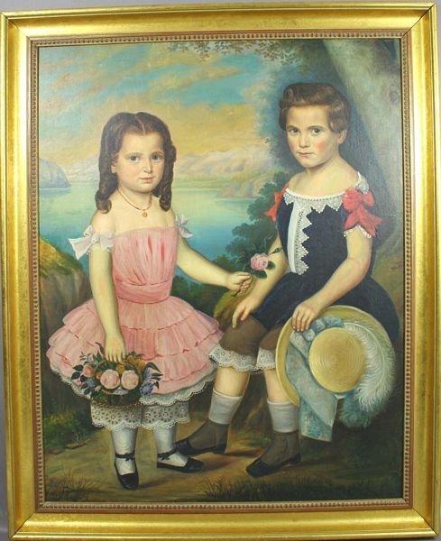 5097: Early 19th Century American Folk Art Portrait, o/