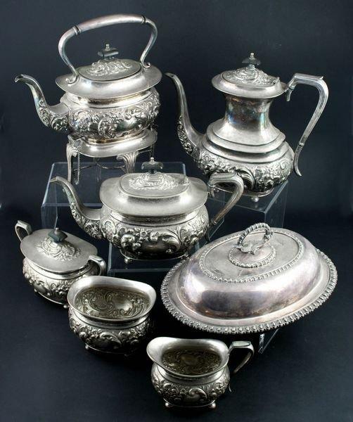 5018: Early 20th C. English Silverplate 6-pc Tea Set