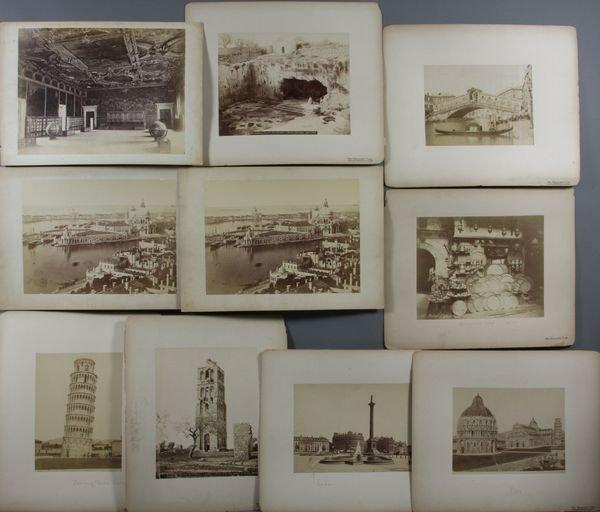 3: (10) 19th C. Albumen Photos, London, Pisa, etc