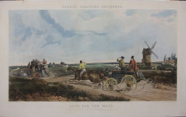 7: 19th C. Handcolored Print, Late For the Mail