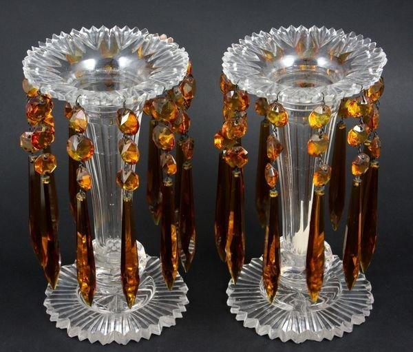 9: Pair of 19th C. Cut Glass Mantel Lustres