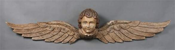 112: 20th C. Carved Painted Angel with Glass Eyes