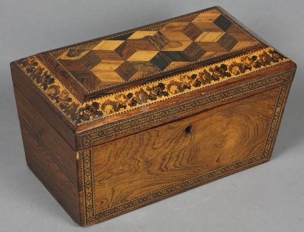 10: Early 19th C. English Finely Inlaid Tea Caddy
