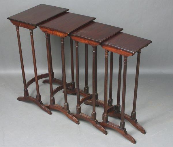 22: Nest of (4) 20th C. Custom Mahogany Tables