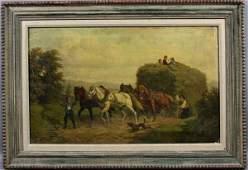 109A: 19th C. Continental, Horses w/ Hay Wagon, o/c