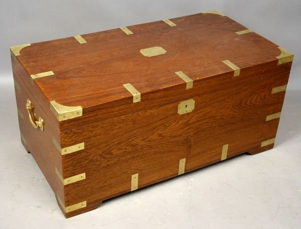 1080: Rosewood Campaign Trunk w/ Brass Accents