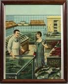 1103: Old Handcolored Print of German Fish Market