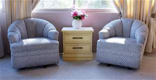 Pair of Blue Upholstered Armchairs with Cabinet