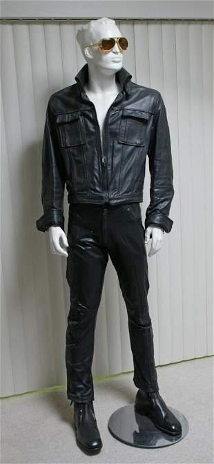 Elvis Leather Suit Set and Sunglasses on Mannequin