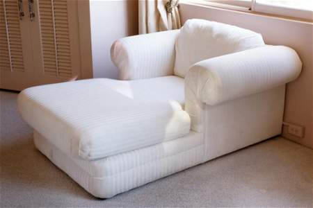 Vintage Ivory Upholstered Chaise Lounge
