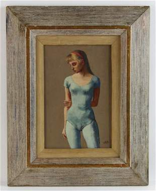 G R Davis Woman in Blue Leotard