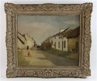 M A Button, Normandy Village, Oil on Canvas