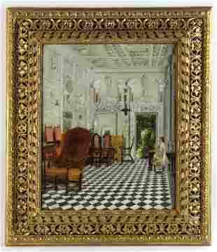 Old Carved Gold Leaf Italian Framed Interior