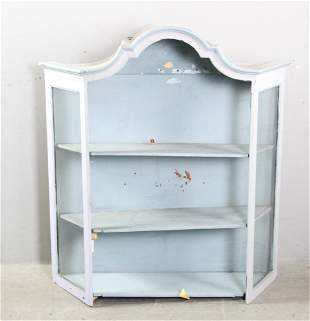 Antique Painted Wall Curio Cabinet