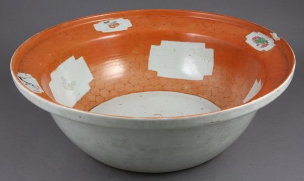 2006: 19th C. Chinese Orange Glaze Bowl w/ Florals