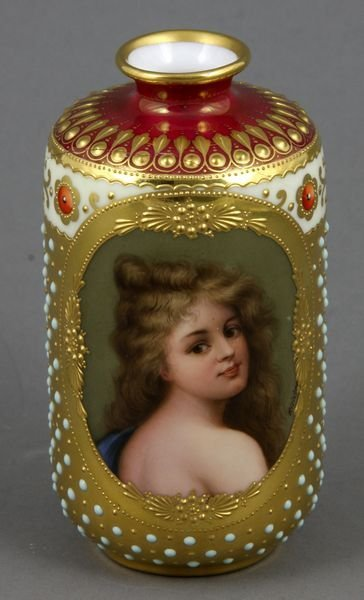 "2010: 19th C. German Handpainted Vase, ""Richter"""