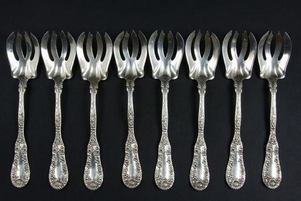 2020: (8) Sterling Ice Cream Forks Van Heusen Chas