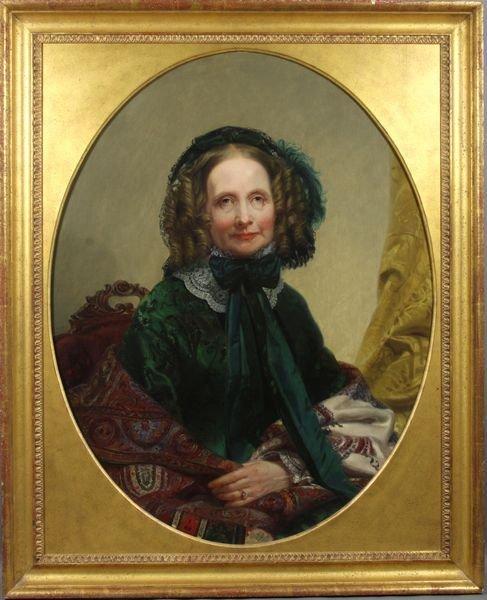 2116: 19th C., Victorian Woman in Green Dress, o/c