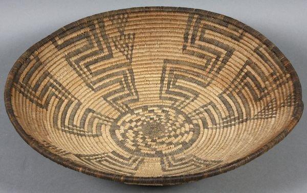 2255: Handwoven Pima Basket, Geometric Design