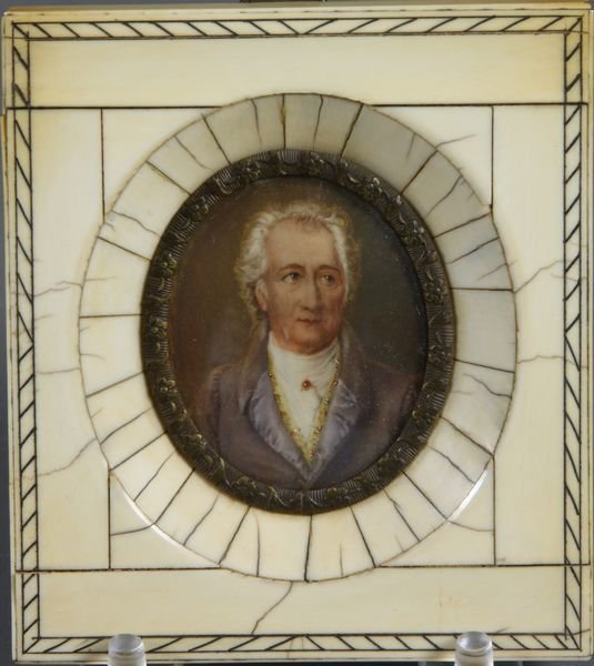 2024: 19th C. Miniature Portrait w/ Ivory Frame
