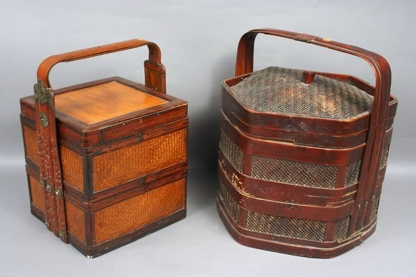 3010: Two (2) Chinese Sectional Wicker Baskets