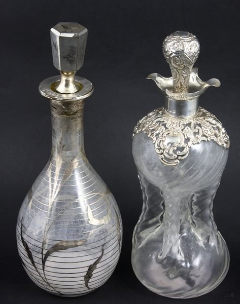 3013: (2) Decanters w/ Silver Overlay, one 1910-11