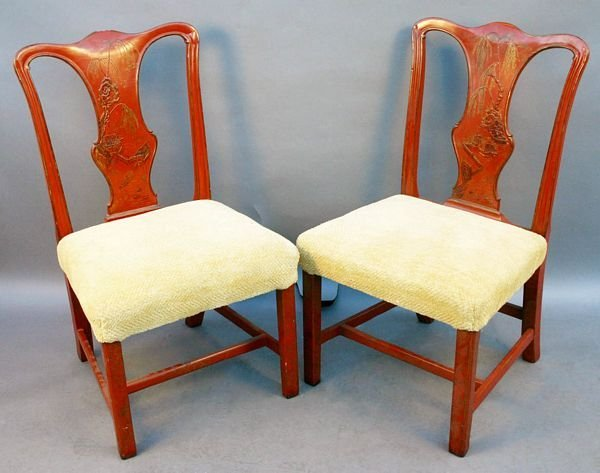 3014: Pair of 20th Century Chinoiserie Decorated Chairs