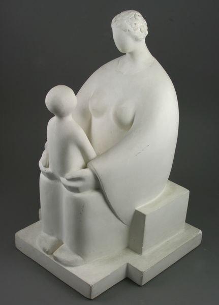 3015: H.H. Harpel, Plaster Sculpture of Woman & Child