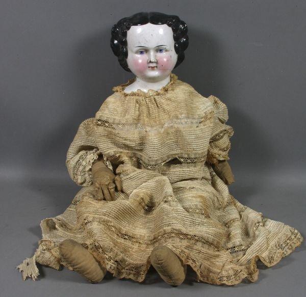 3021: 19th C. Porcelain Head Doll w/ Cloth Body