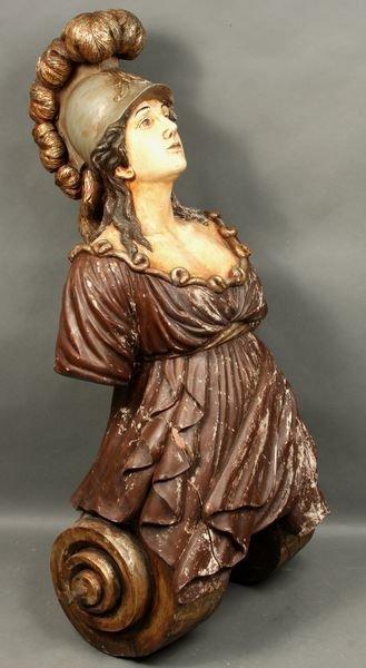 3115: 19th C. Ship's Figurehead of Woman w/ Helmet